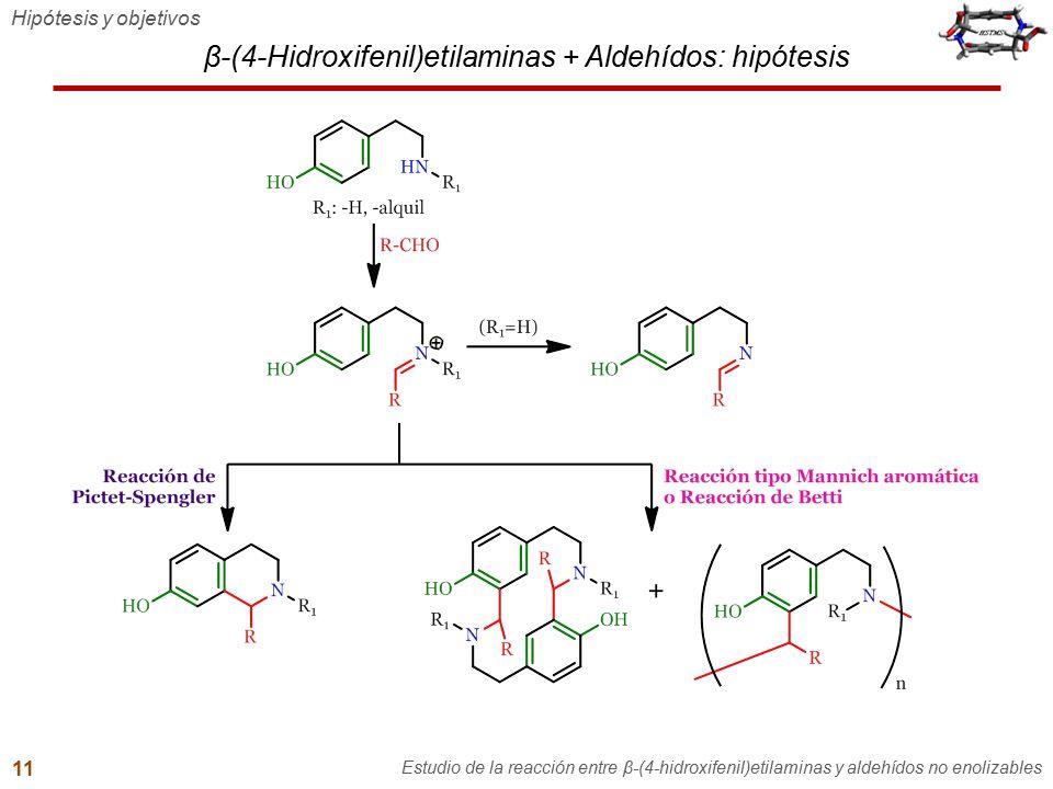 β-(4-Hidroxifenil)etilaminas + Aldehídos: hipótesis Hipótesis y objetivos Estudio de la reacción entre β-(4-hidroxifenil)etilaminas y aldehídos no eno