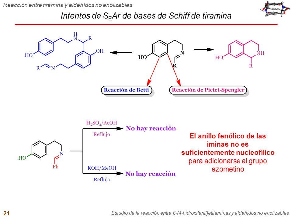 Intentos de S E Ar de bases de Schiff de tiramina Reacción entre tiramina y aldehídos no enolizables Estudio de la reacción entre β-(4-hidroxifenil)et