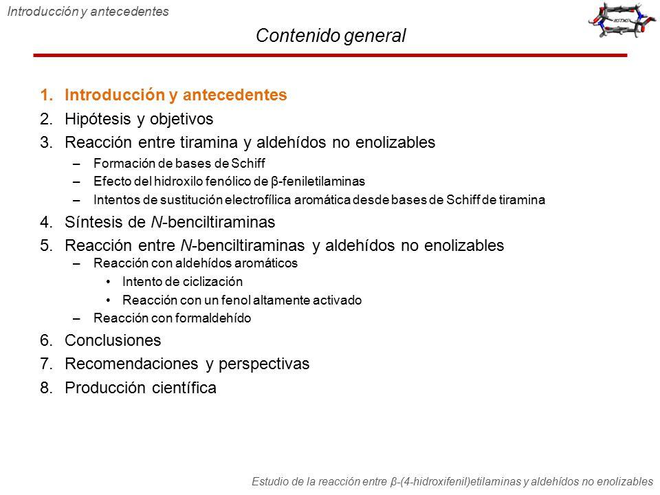 Contenido general 1.Introducción y antecedentes 2.Hipótesis y objetivos 3.Reacción entre tiramina y aldehídos no enolizables –Formación de bases de Sc