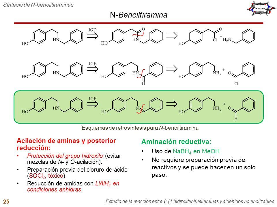 N-Benciltiramina Síntesis de N-benciltiraminas Estudio de la reacción entre β-(4-hidroxifenil)etilaminas y aldehídos no enolizables 25 Esquemas de ret