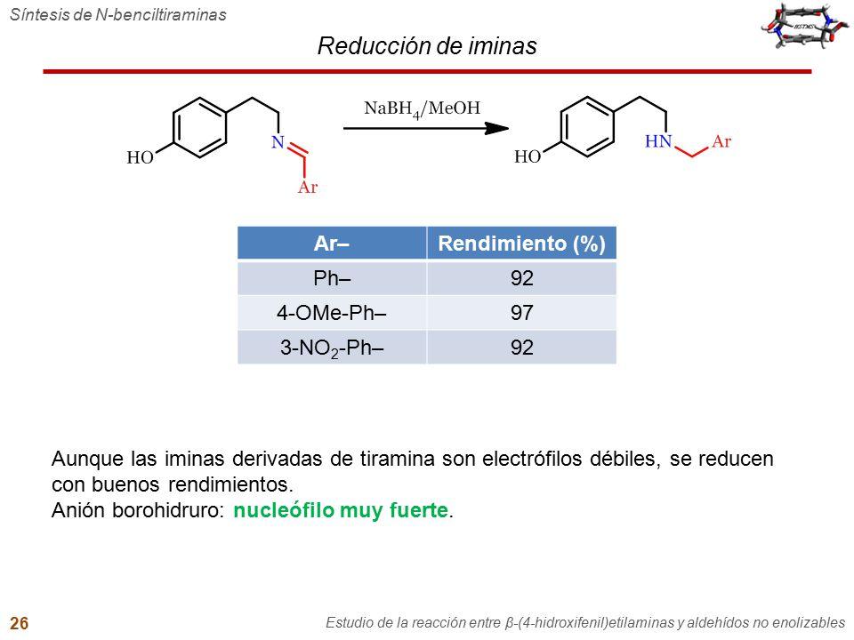 Reducción de iminas Síntesis de N-benciltiraminas Estudio de la reacción entre β-(4-hidroxifenil)etilaminas y aldehídos no enolizables 26 Aunque las i