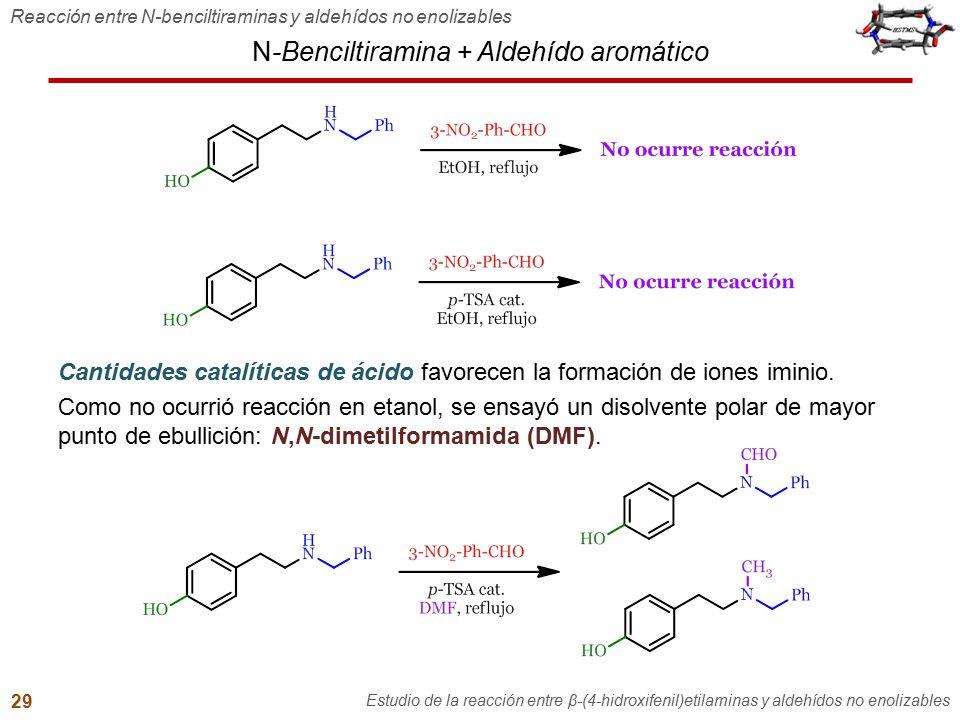 N-Benciltiramina + Aldehído aromático Reacción entre N-benciltiraminas y aldehídos no enolizables Estudio de la reacción entre β-(4-hidroxifenil)etila