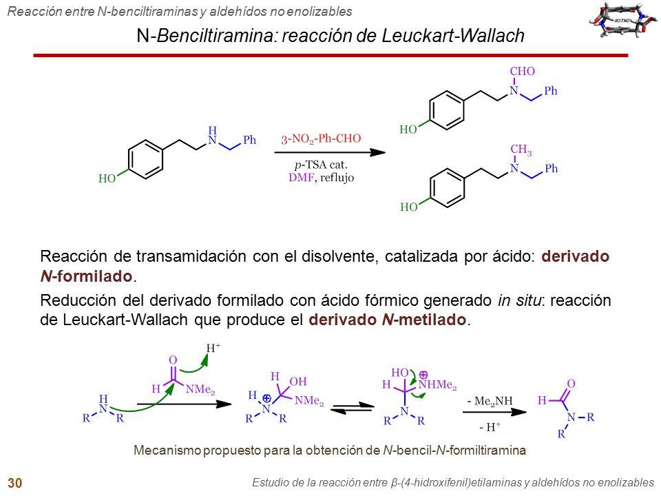 N-Benciltiramina: reacción de Leuckart-Wallach Reacción entre N-benciltiraminas y aldehídos no enolizables Estudio de la reacción entre β-(4-hidroxife