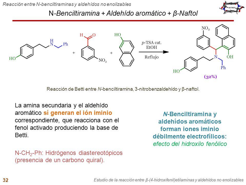 N-Benciltiramina + Aldehído aromático + β-Naftol La amina secundaria y el aldehído aromático sí generan el ión iminio correspondiente, que reacciona c