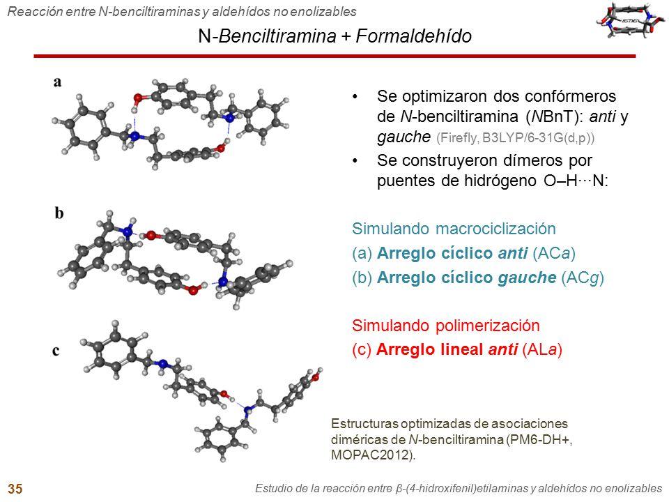 N-Benciltiramina + Formaldehído Reacción entre N-benciltiraminas y aldehídos no enolizables Estudio de la reacción entre β-(4-hidroxifenil)etilaminas