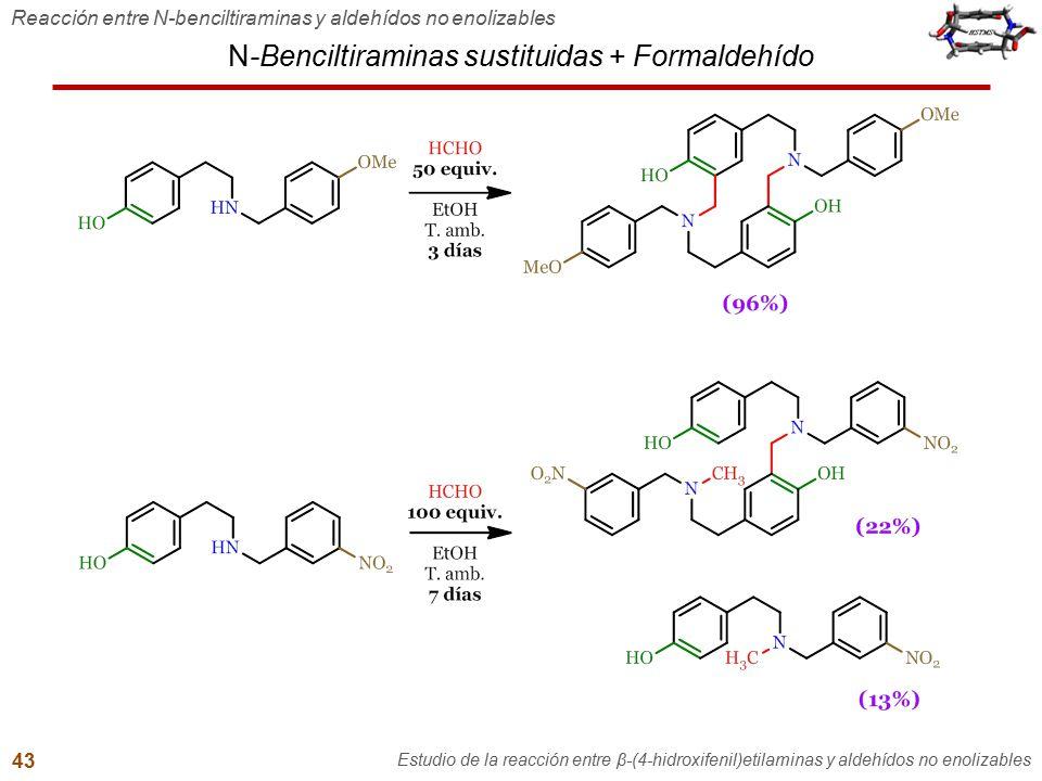 N-Benciltiraminas sustituidas + Formaldehído Reacción entre N-benciltiraminas y aldehídos no enolizables Estudio de la reacción entre β-(4-hidroxifeni