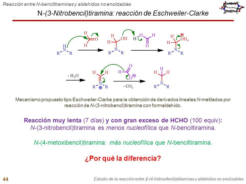 N-(3-Nitrobencil)tiramina: reacción de Eschweiler-Clarke Reacción entre N-benciltiraminas y aldehídos no enolizables Estudio de la reacción entre β-(4