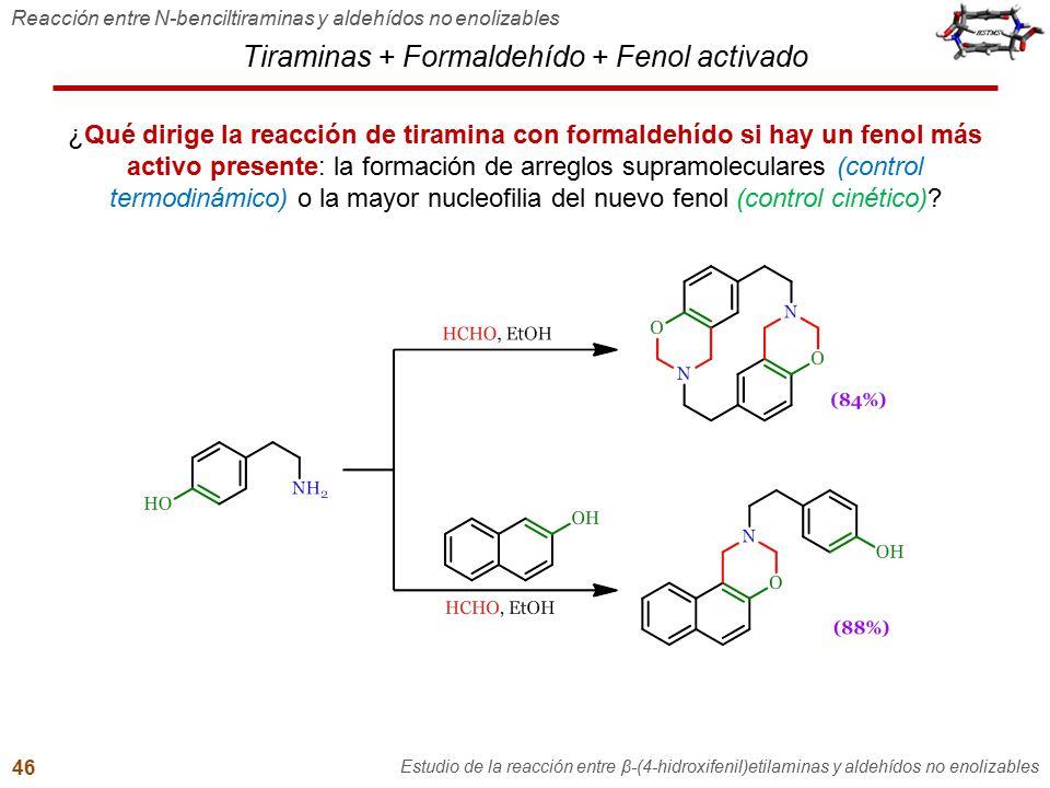 Tiraminas + Formaldehído + Fenol activado Reacción entre N-benciltiraminas y aldehídos no enolizables Estudio de la reacción entre β-(4-hidroxifenil)e