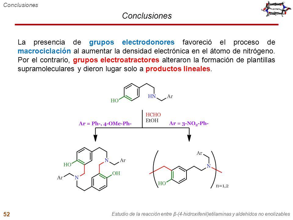 Conclusiones La presencia de grupos electrodonores favoreció el proceso de macrociclación al aumentar la densidad electrónica en el átomo de nitrógeno