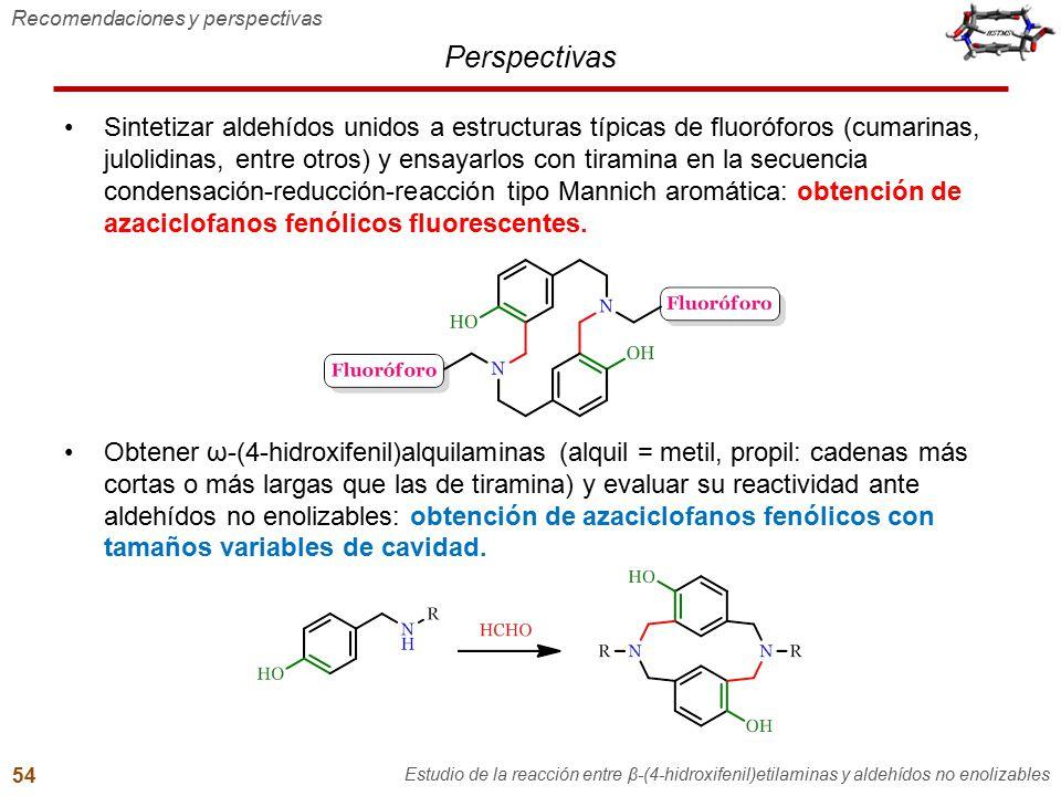 Perspectivas Sintetizar aldehídos unidos a estructuras típicas de fluoróforos (cumarinas, julolidinas, entre otros) y ensayarlos con tiramina en la se