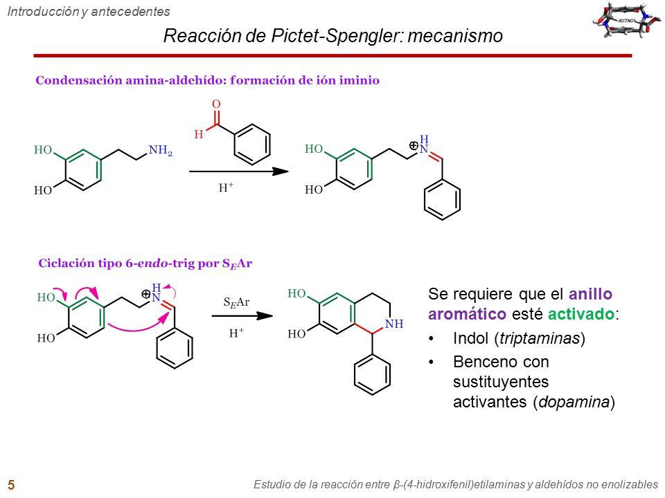 Contenido general 1.Introducción y antecedentes 2.Hipótesis y objetivos 3.Reacción entre tiramina y aldehídos no enolizables –Formación de bases de Schiff –Efecto del hidroxilo fenólico de β-feniletilaminas –Intentos de sustitución electrofílica aromática desde bases de Schiff de tiramina 4.Síntesis de N-benciltiraminas 5.Reacción entre N-benciltiraminas y aldehídos no enolizables –Reacción con aldehídos aromáticos Intento de ciclización Reacción con un fenol altamente activado –Reacción con formaldehído 6.Conclusiones 7.Recomendaciones y perspectivas 8.Producción científica Reacción entre tiramina y aldehídos no enolizables Estudio de la reacción entre β-(4-hidroxifenil)etilaminas y aldehídos no enolizables