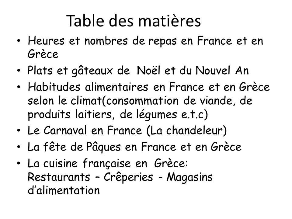 Table des matières Heures et nombres de repas en France et en Grèce Plats et gâteaux de Noël et du Nouvel Αn Habitudes alimentaires en France et en Gr