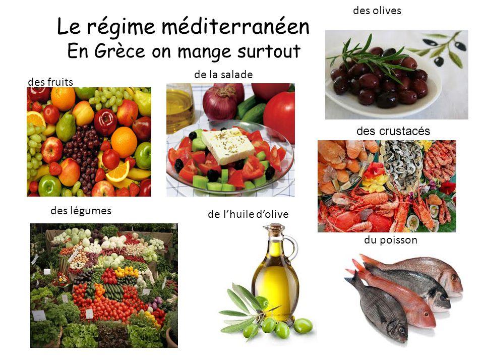 Le régime méditerranéen En Grèce on mange surtout du poisson des fruits des légumes de la salade des olives de l'huile d'olive des crustacés