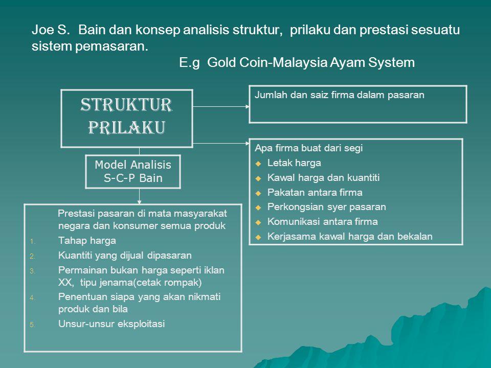 Joe S. Bain dan konsep analisis struktur, prilaku dan prestasi sesuatu sistem pemasaran. E.g Gold Coin-Malaysia Ayam System Jumlah dan saiz firma dala