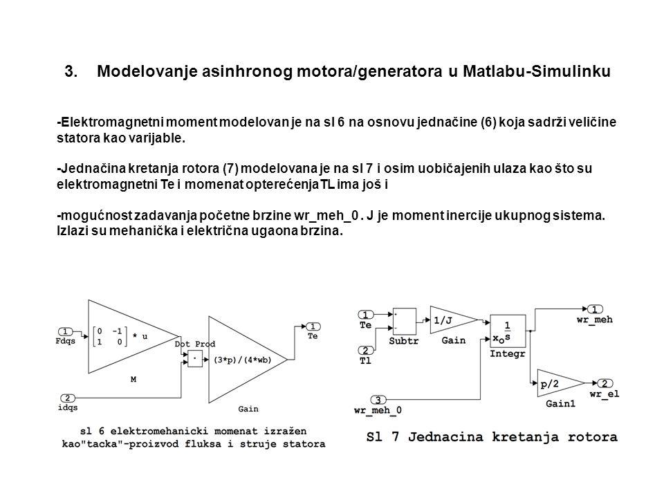 3. Modelovanje asinhronog motora/generatora u Matlabu-Simulinku -Elektromagnetni moment modelovan je na sl 6 na osnovu jednačine (6) koja sadrži velič