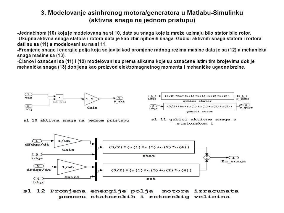 3. Modelovanje asinhronog motora/generatora u Matlabu-Simulinku (aktivna snaga na jednom pristupu) -Jednačinom (10) koja je modelovana na sl 10, date