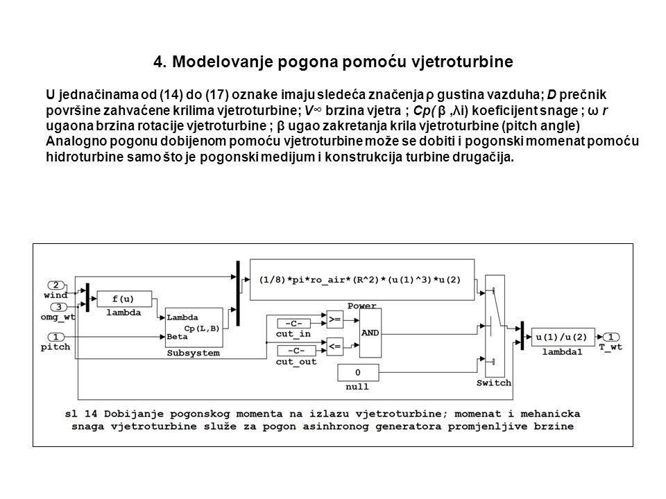 4. Modelovanje pogona pomoću vjetroturbine U jednačinama od (14) do (17) oznake imaju sledeća značenja ρ gustina vazduha; D prečnik površine zahvaćene