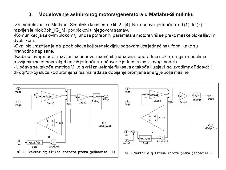 3. Modelovanje asinhronog motora/generatora u Matlabu-Simulinku -Za modelovanje u Matlabu_Simulinku korištena je lit [2], [4]. Na osnovu jednačina od