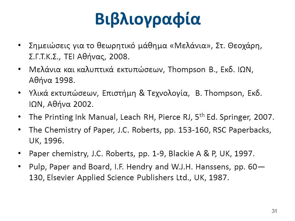 Βιβλιογραφία Σημειώσεις για το θεωρητικό μάθημα «Μελάνια», Στ. Θεοχάρη, Σ.Γ.Τ.Κ.Σ., ΤΕΙ Αθήνας, 2008. Μελάνια και καλυπτικά εκτυπώσεων, Thompson B., Ε