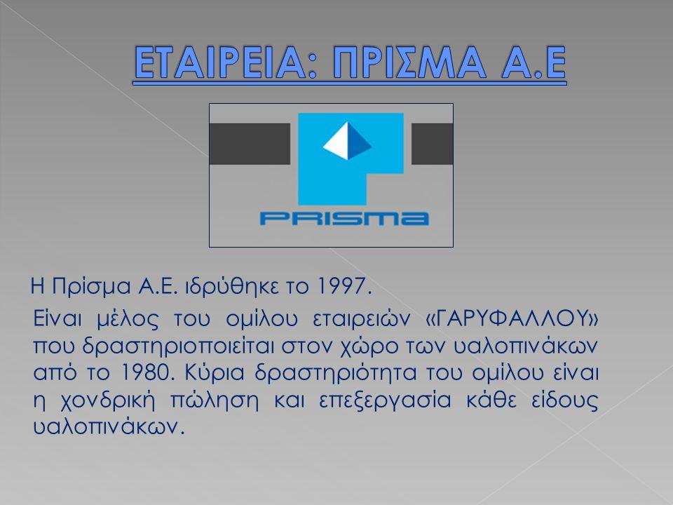 Η Πρίσμα Α.Ε. ιδρύθηκε το 1997. Είναι μέλος του ομίλου εταιρειών «ΓΑΡΥΦΑΛΛΟΥ» που δραστηριοποιείται στον χώρο των υαλοπινάκων από το 1980. Κύρια δραστ