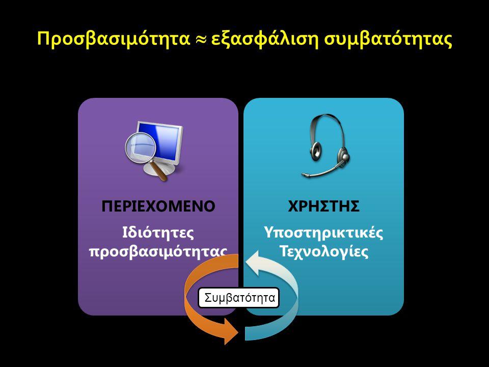 Οδηγίες για την Προσβασιμότητα του Περιεχομένου του Ιστού 2.0 Web Content Accessibility Guidelines (WCAG) 2.0 Επίσημη Ελληνική Μετάφραση: http://www.w