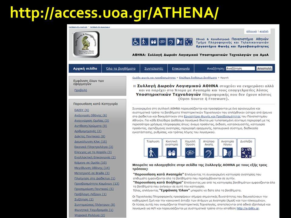 Υποστηρικτικές Τεχνολογίες Πληροφορικής για Πρόσβαση Έλεγχος κέρσορα με φωνή Επιτάχυνση γραφής Μετατροπή κειμένου σε συνθετική ομιλία Ειδικοί browsers