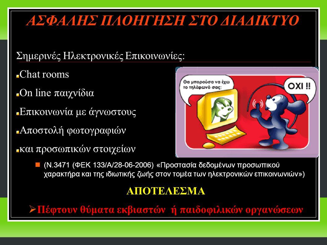 Σημερινές Ηλεκτρονικές Επικοινωνίες: Chat rooms On line παιχνίδια Επικοινωνία με άγνωστους Αποστολή φωτογραφιών και προσωπικών στοιχείων (Ν.3471 (ΦΕΚ 133/A/28-06-2006) «Προστασία δεδομένων προσωπικού χαρακτήρα και της ιδιωτικής ζωής στον τομέα των ηλεκτρονικών επικοινωνιών») ΑΠΟΤΕΛΕΣΜΑ  Πέφτουν θύματα εκβιαστών ή παιδοφιλικών οργανώσεων ΑΣΦΑΛΗΣ ΠΛΟΗΓΗΣΗ ΣΤΟ ΔΙΑΔΙΚΤΥΟ