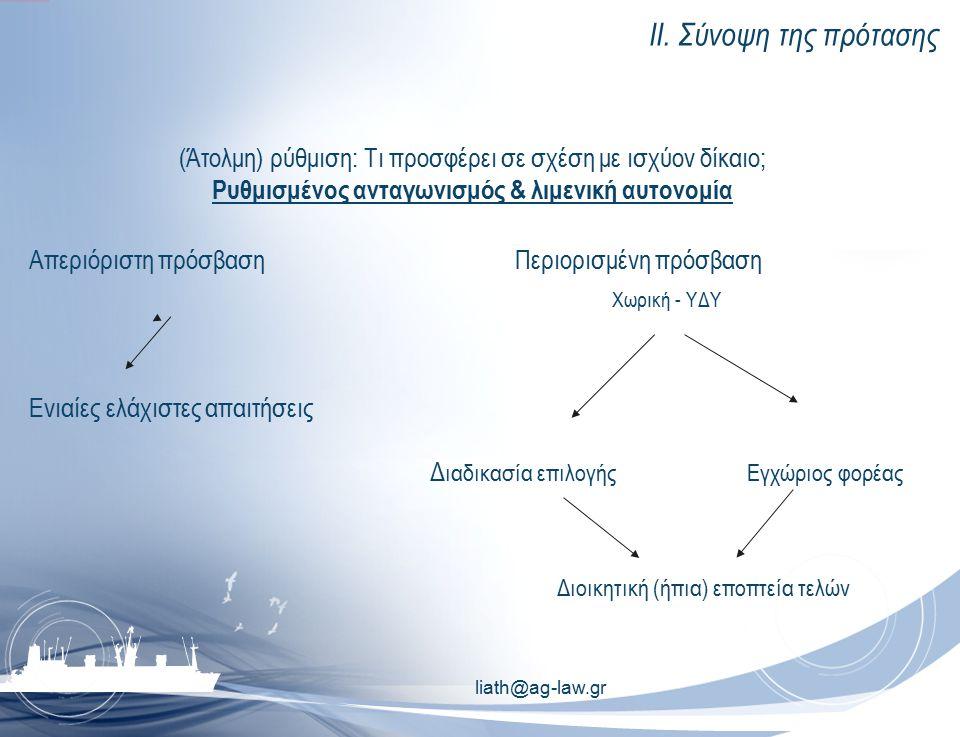 ΙΙ. Σύνοψη της πρότασης (Άτολμη) ρύθμιση: Τι προσφέρει σε σχέση με ισχύον δίκαιο; Ρυθμισμένος ανταγωνισμός & λιμενική αυτονομία Απεριόριστη πρόσβασηΠε