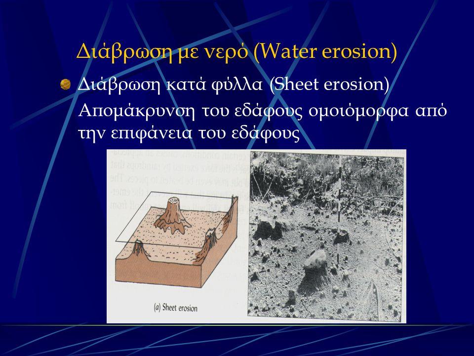 Διάβρωση με νερό (Water erosion) Διάβρωση κατά φύλλα (Sheet erosion) Απομάκρυνση του εδάφους ομοιόμορφα από την επιφάνεια του εδάφους