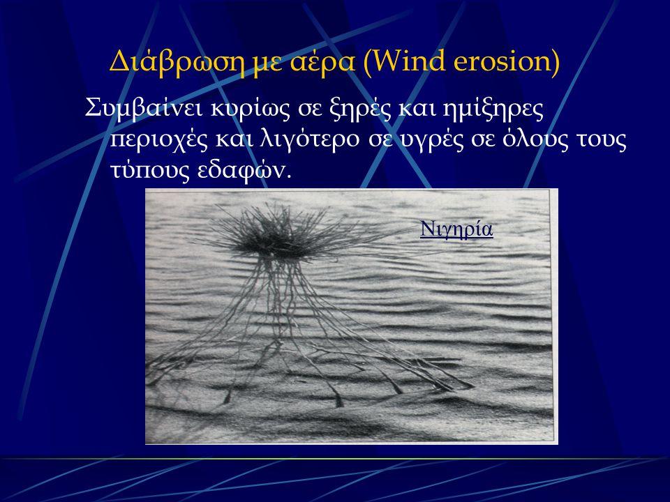 Διάβρωση με αέρα (Wind erosion) Συμβαίνει κυρίως σε ξηρές και ημίξηρες περιοχές και λιγότερο σε υγρές σε όλους τους τύπους εδαφών.