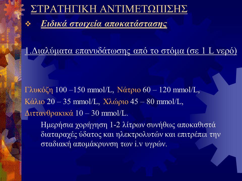 ΣΤΡΑΤΗΓΙΚΗ ΑΝΤΙΜΕΤΩΠΙΣΗΣ  Ειδικά στοιχεία αποκατάστασης 1.Διαλύματα επανυδάτωσης από το στόμα (σε 1 L νερό) Γλυκόζη 100 –150 mmol/L, Νάτριο 60 – 120 mmol/L, Κάλιο 20 – 35 mmol/L, Χλώριο 45 – 80 mmol/L, Διττανθρακικά 10 – 30 mmol/L.