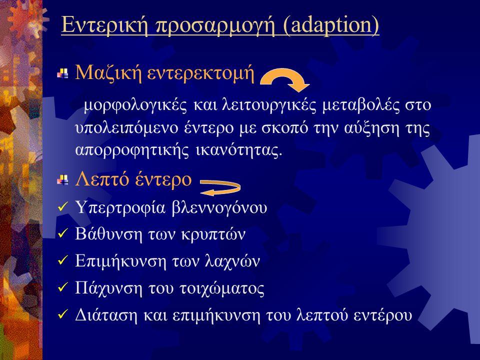 Εντερική προσαρμογή (adaption) Μαζική εντερεκτομή μορφολογικές και λειτουργικές μεταβολές στο υπολειπόμενο έντερο με σκοπό την αύξηση της απορροφητικής ικανότητας.
