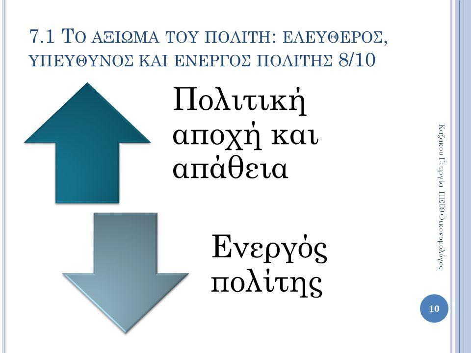 Πολιτική αποχή και απάθεια Ενεργός πολίτης 10 Καζάκου Γεωργία, ΠΕ09 Οικονομολόγος 7.1 Τ Ο ΑΞΙΩΜΑ ΤΟΥ ΠΟΛΙΤΗ : ΕΛΕΥΘΕΡΟΣ, ΥΠΕΥΘΥΝΟΣ ΚΑΙ ΕΝΕΡΓΟΣ ΠΟΛΙΤΗΣ