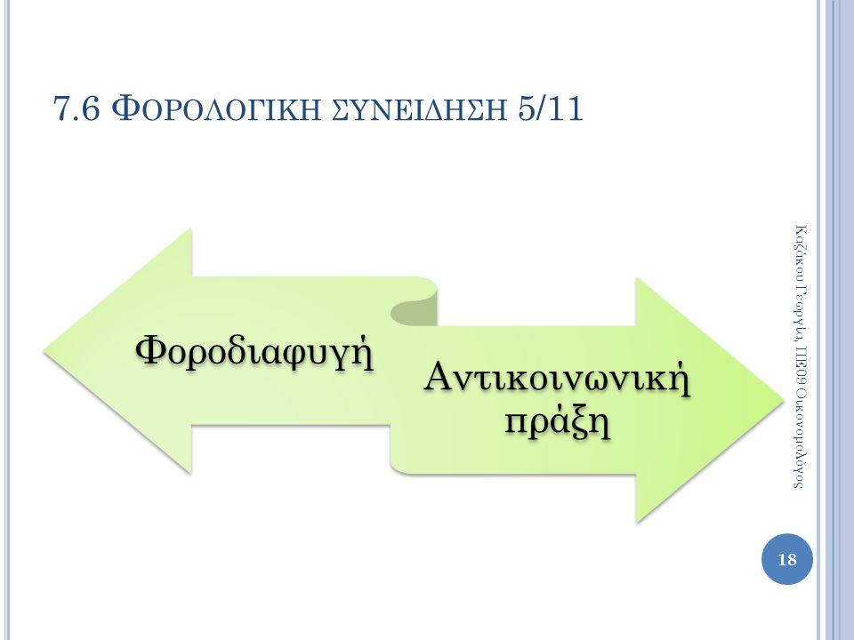 Φοροδιαφυγή Αντικοινωνική πράξη 18 Καζάκου Γεωργία, ΠΕ09 Οικονομολόγος 7.6 Φ ΟΡΟΛΟΓΙΚΗ ΣΥΝΕΙΔΗΣΗ 5/11