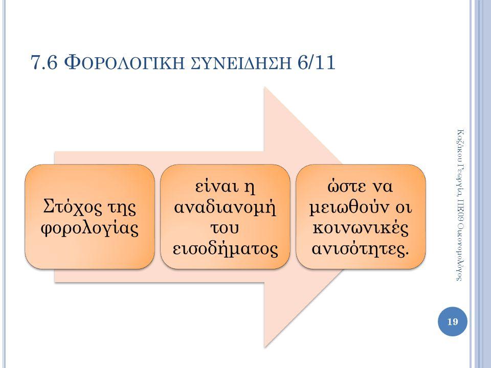 Στόχος της φορολογίας είναι η αναδιανομή του εισοδήματος ώστε να μειωθούν οι κοινωνικές ανισότητες. 19 Καζάκου Γεωργία, ΠΕ09 Οικονομολόγος 7.6 Φ ΟΡΟΛΟ