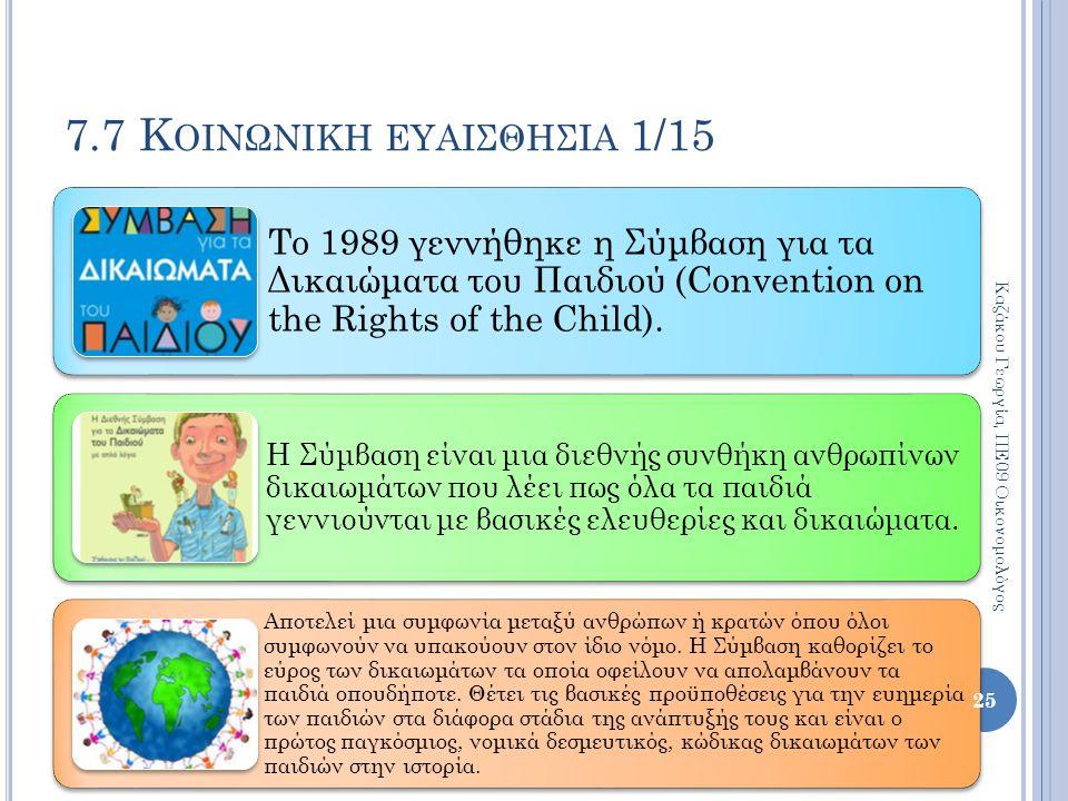7.7 Κ ΟΙΝΩΝΙΚΗ ΕΥΑΙΣΘΗΣΙΑ 1/15 Το 1989 γεννήθηκε η Σύμβαση για τα Δικαιώματα του Παιδιού (Convention on the Rights of the Child). Η Σύμβαση είναι μια