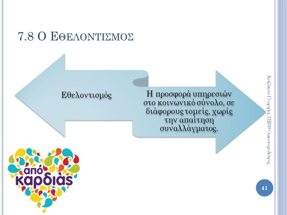 7.8 Ο Ε ΘΕΛΟΝΤΙΣΜΟΣ Εθελοντισμός Η προσφορά υπηρεσιών στο κοινωνικό σύνολο, σε διάφορους τομείς, χωρίς την απαίτηση συναλλάγματος. 41 Καζάκου Γεωργία,