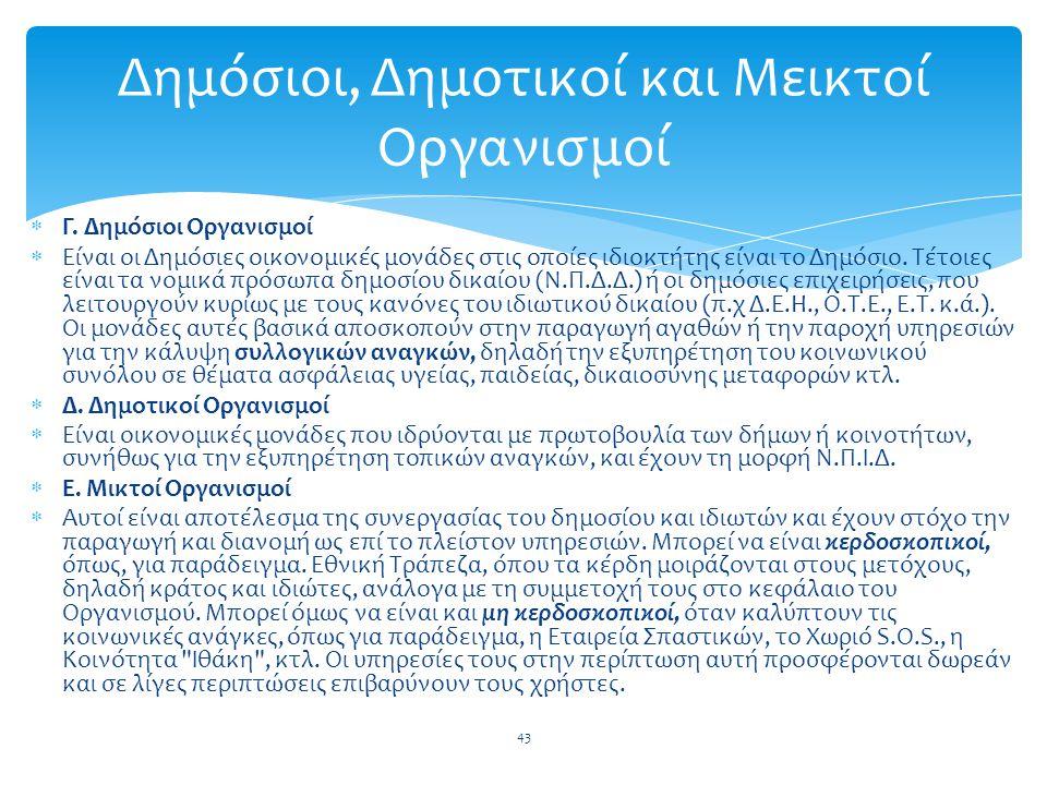 Γ. Δημόσιοι Οργανισμοί  Είναι οι Δημόσιες οικονομικές μονάδες στις οποίες ιδιοκτήτης είναι το Δημόσιο. Τέτοιες είναι τα νομικά πρόσωπα δημοσίου δι