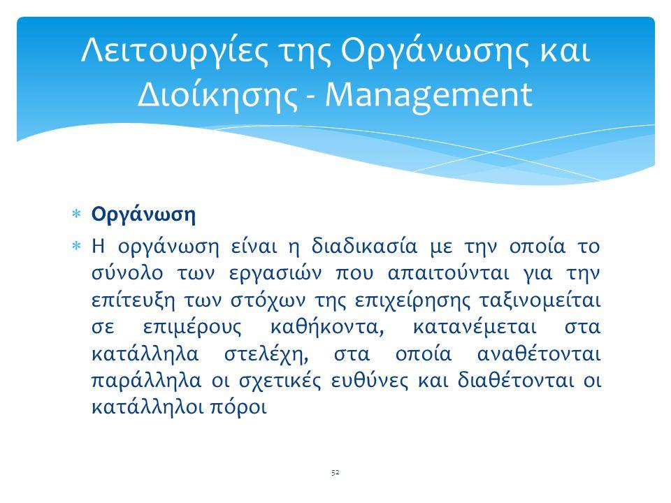  Οργάνωση  Η οργάνωση είναι η διαδικασία με την οποία το σύνολο των εργασιών που απαιτούνται για την επίτευξη των στόχων της επιχείρησης ταξινομείτα