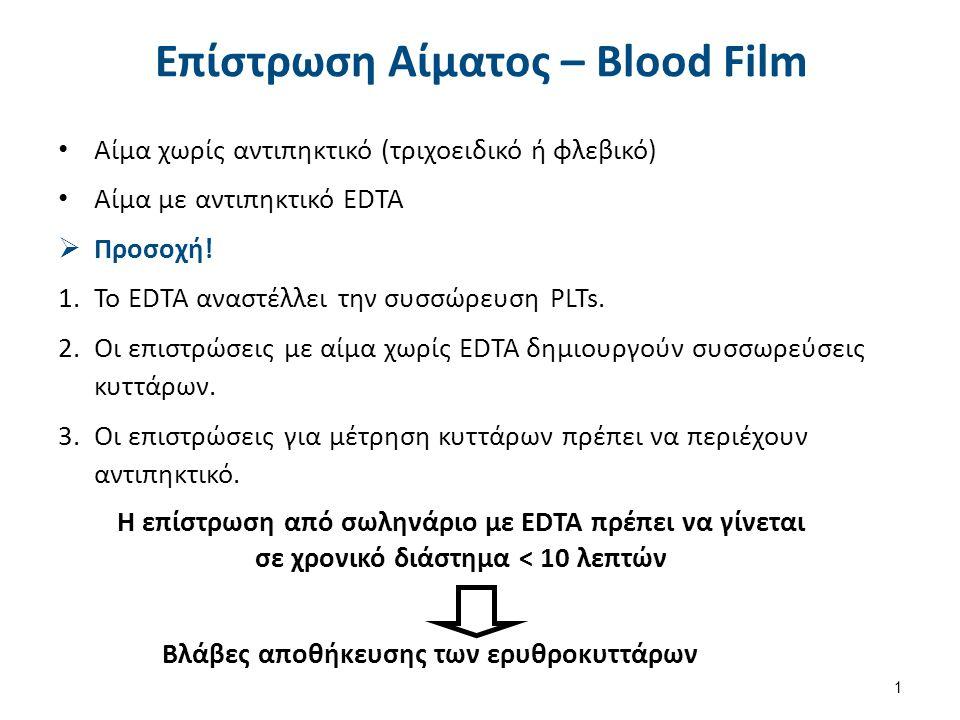 Η επίστρωση από σωληνάριο με EDTA πρέπει να γίνεται σε χρονικό διάστημα < 10 λεπτών Βλάβες αποθήκευσης των ερυθροκυττάρων Επίστρωση Αίματος – Blood Fi
