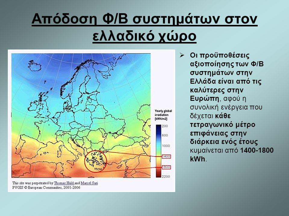 Απόδοση Φ/Β συστημάτων στον ελλαδικό χώρο  Οι προϋποθέσεις αξιοποίησης των Φ/Β συστημάτων στην Ελλάδα είναι από τις καλύτερες στην Ευρώπη, αφού η συν