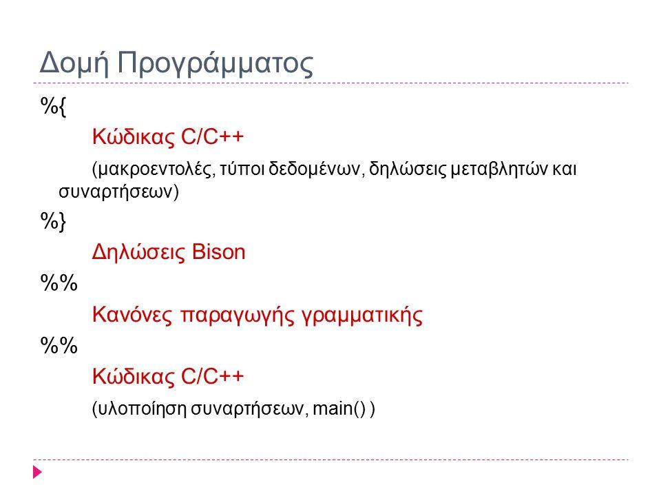 Δομή Προγράμματος %{ Κώδικας C/C++ (μακροεντολές, τύποι δεδομένων, δηλώσεις μεταβλητών και συναρτήσεων) %} Δηλώσεις Bison % Κανόνες παραγωγής γραμματικής % Κώδικας C/C++ (υλοποίηση συναρτήσεων, main() )