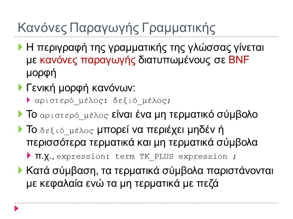 Κανόνες Παραγωγής Γραμματικής  Η περιγραφή της γραμματικής της γλώσσας γίνεται με κανόνες παραγωγής διατυπωμένους σε BNF μορφή  Γενική μορφή κανόνων:  αριστερό_μέλος: δεξιό_μέλος;  Το αριστερό_μέλος είναι ένα μη τερματικό σύμβολο  Το δεξιό_μέλος μπορεί να περιέχει μηδέν ή περισσότερα τερματικά και μη τερματικά σύμβολα  π.χ., expression: term TK_PLUS expression ;  Kατά σύμβαση, τα τερματικά σύμβολα παριστάνονται με κεφαλαία ενώ τα μη τερματικά με πεζά