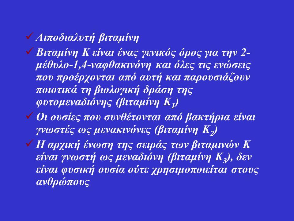 ΔΡΑΣΗ Απαραίτητος συμπαράγοντας για την ηπατική σύνθεση πρωτεϊνών που εμπλέκονται στη διαδικασία της πήξης του αίματος (προθρομβίνη (παράγοντας ΙΙ), παράγοντες VII, IX, X και οι πρωτεΐνες C, S και Z) Είναι υπεύθυνη για την καρβοξυλίωση της πρωτεΐνης των οστών, οστεοκαλσίνης στην δραστική της μορφή.