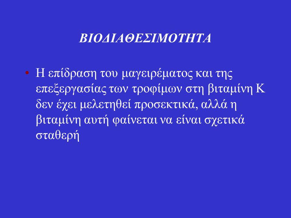 Απορρόφηση Απορροφάται στο λεμφικό σύστημα κυρίως από το άνω τμήμα του λεπτού εντέρου (νήστιδα και ειλεός) με μια διαδικασία που απαιτεί χολικά άλατα και παγκρεατικό υγρό Υπάρχουν στοιχεία ότι η βακτηριακά παραγόμενη βιταμίνη Κ μπορεί να είναι πηγή βιταμίνης Κ για τους ανθρώπους παρόλο που η διαθεσιμότητα επαρκούς συγκέντρωσης χολικών αλάτων για απορρόφηση είναι αμφισβητήσιμη (τα επίπεδα μενακινόνης του πλάσματος υποδεικνύουν ότι συμβαίνει κάποια απορρόφηση)