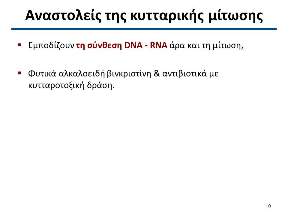 Αναστολείς της κυτταρικής μίτωσης  Εμποδίζουν τη σύνθεση DNA - RNA άρα και τη μίτωση,  Φυτικά αλκαλοειδή βινκριστίνη & αντιβιοτικά με κυτταροτοξική