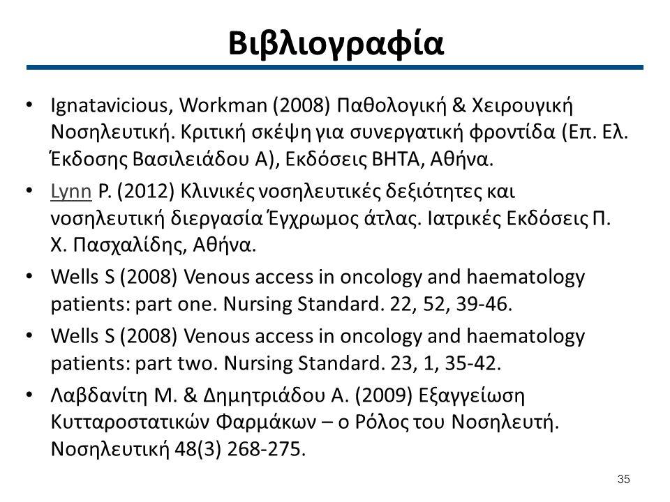 Βιβλιογραφία Ignatavicious, Workman (2008) Παθολογική & Χειρουγική Νοσηλευτική. Κριτική σκέψη για συνεργατική φροντίδα (Επ. Ελ. Έκδοσης Βασιλειάδου Α)