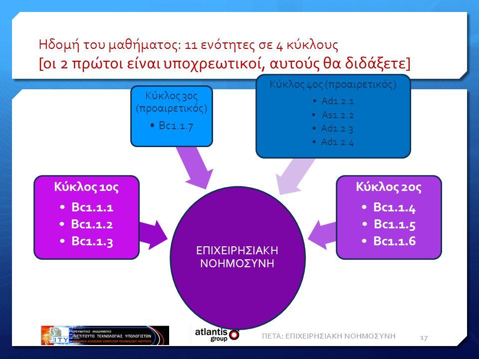 Ηδομή του μαθήματος: 11 ενότητες σε 4 κύκλους [οι 2 πρώτοι είναι υποχρεωτικοί, αυτούς θα διδάξετε] ΠΕΤΑ: ΕΠΙΧΕΙΡΗΣΙΑΚΗ ΝΟΗΜΟΣΥΝΗ 17 ΕΠΙΧΕΙΡΗΣΙΑΚΗ ΝΟΗΜΟΣΥΝΗ Κύκλος 10ς Bc1.1.1 Bc1.1.2 Bc1.1.3 Κύκλος 30ς (προαιρετικός) Bc1.1.7 Κύκλος 40ς (προαιρετικός) Ad1.2.1 As1.2.2 Ad1.2.3 Ad1.2.4 Κύκλος 2ος Bc1.1.4 Bc1.1.5 Bc1.1.6