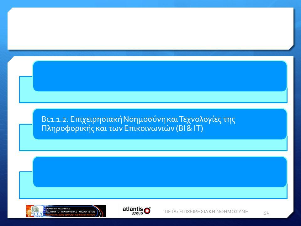 ΠΕΤΑ: ΕΠΙΧΕΙΡΗΣΙΑΚΗ ΝΟΗΜΟΣΥΝΗ 51 Bc1.1.2: Επιχειρησιακή Νοημοσύνη και Τεχνολογίες της Πληροφορικής και των Επικοινωνιών (BI & IT)