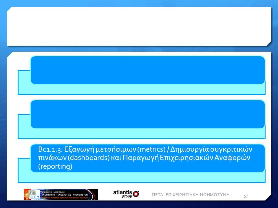 ΠΕΤΑ: ΕΠΙΧΕΙΡΗΣΙΑΚΗ ΝΟΗΜΟΣΥΝΗ 57 Bc1.1.3: Εξαγωγή μετρήσιμων (metrics) / Δημιουργία συγκριτικών πινάκων (dashboards) και Παραγωγή Eπιχειρησιακών Aναφορών (reporting)